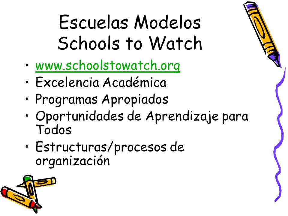 Escuelas Modelos Schools to Watch www.schoolstowatch.org Excelencia Académica Programas Apropiados Oportunidades de Aprendizaje para Todos Estructuras/procesos de organización
