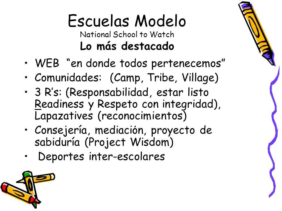 Escuelas Modelo National School to Watch Lo más destacado WEB en donde todos pertenecemos Comunidades: (Camp, Tribe, Village) 3 Rs: (Responsabilidad, estar listo Readiness y Respeto con integridad), Lapazatives (reconocimientos) Consejería, mediaciόn, proyecto de sabiduría (Project Wisdom) Deportes inter-escolares