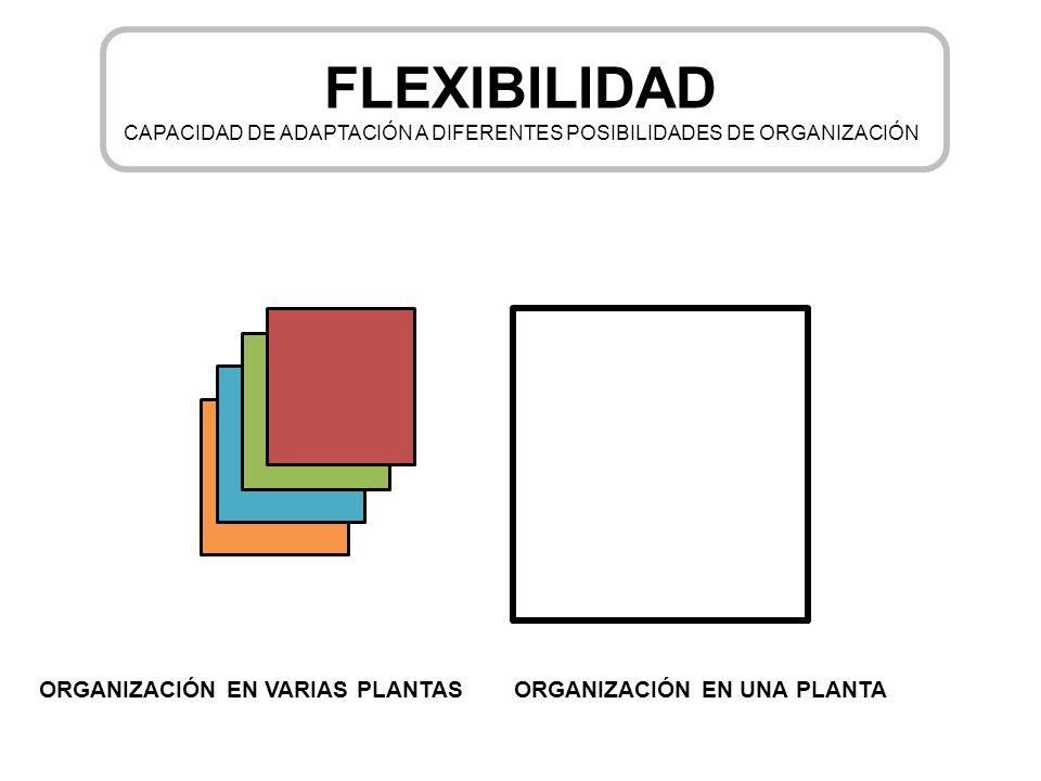 FLEXIBILIDAD CAPACIDAD DE ADAPTACIÓN A DIFERENTES POSIBILIDADES DE ORGANIZACIÓN ORGANIZACIÓN EN VARIAS PLANTASORGANIZACIÓN EN UNA PLANTA