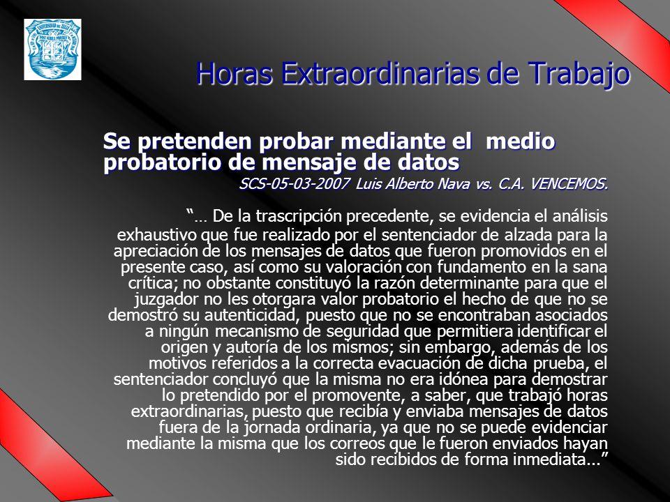Se pretenden probar mediante el medio probatorio de mensaje de datos SCS-05-03-2007 Luis Alberto Nava vs.