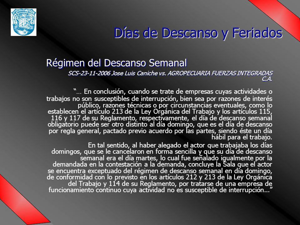 Régimen del Descanso Semanal SCS-23-11-2006 Jose Luis Caniche vs.