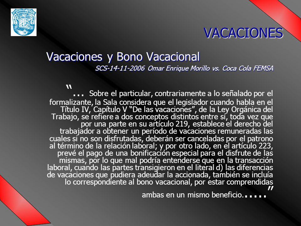 Vacaciones y Bono Vacacional SCS-14-11-2006 Omar Enrique Morillo vs.