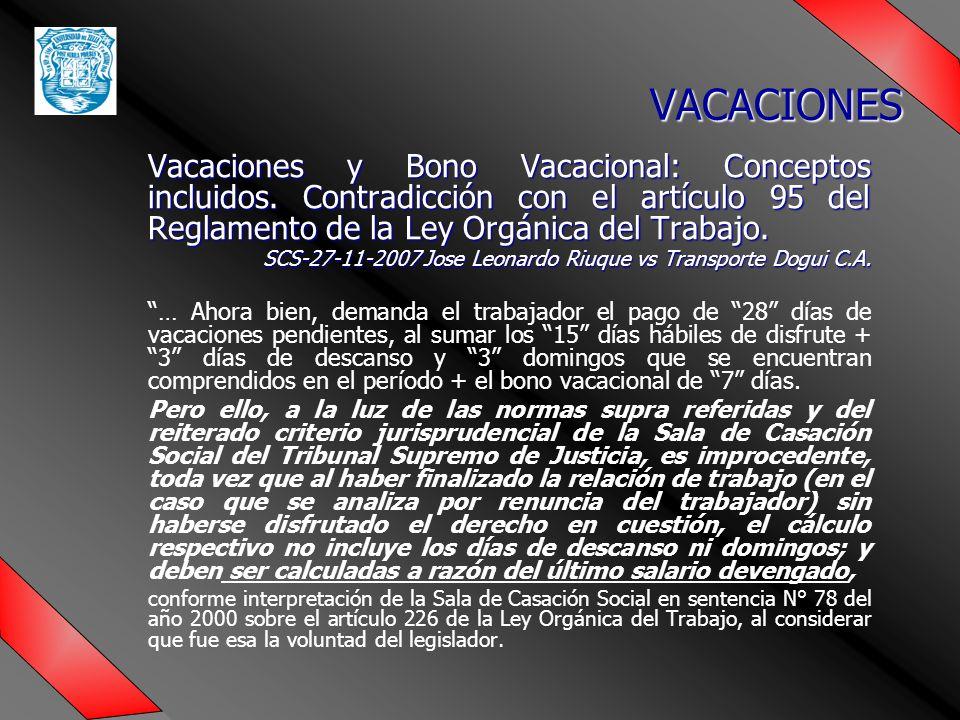 Vacaciones y Bono Vacacional: Conceptos incluidos.