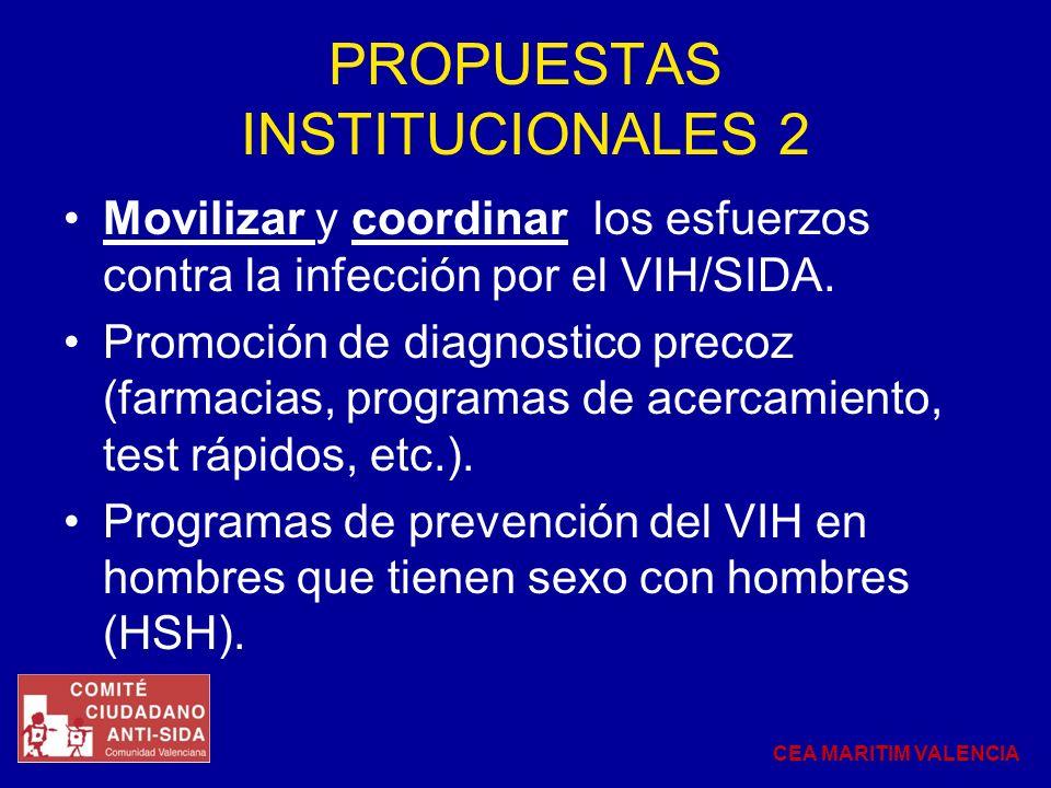 PROPUESTAS INSTITUCIONALES 2 Movilizar y coordinar los esfuerzos contra la infección por el VIH/SIDA. Promoción de diagnostico precoz (farmacias, prog