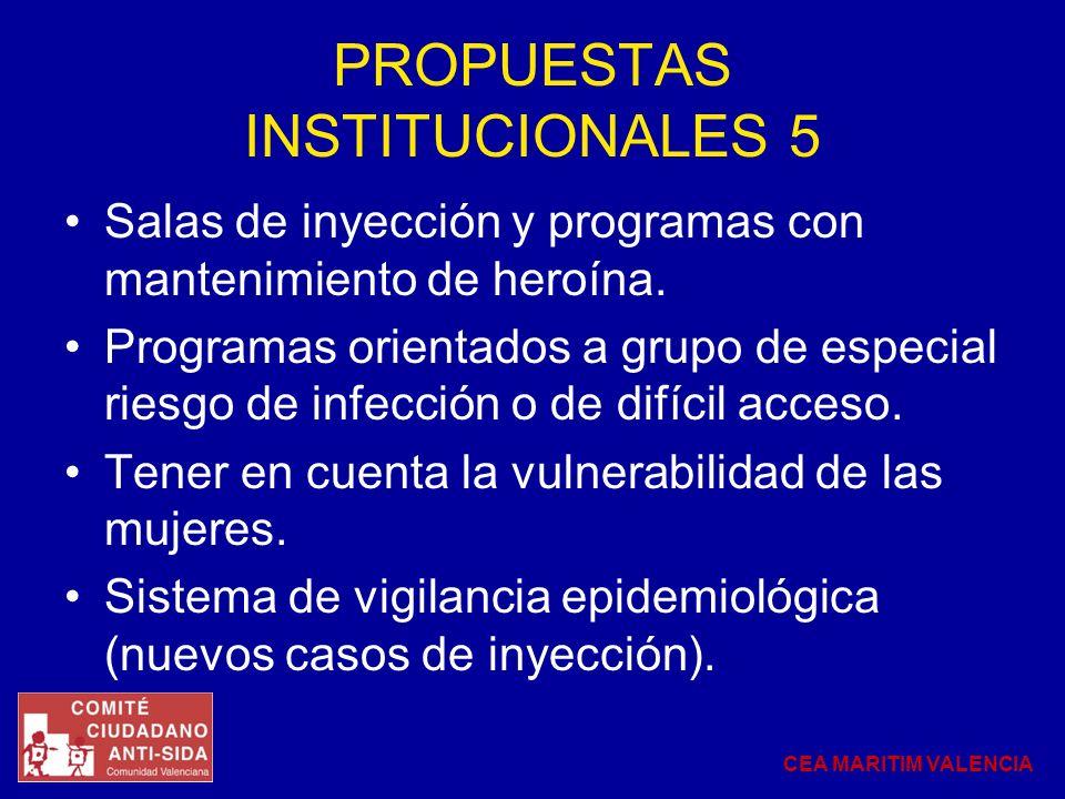 PROPUESTAS INSTITUCIONALES 5 Salas de inyección y programas con mantenimiento de heroína. Programas orientados a grupo de especial riesgo de infección