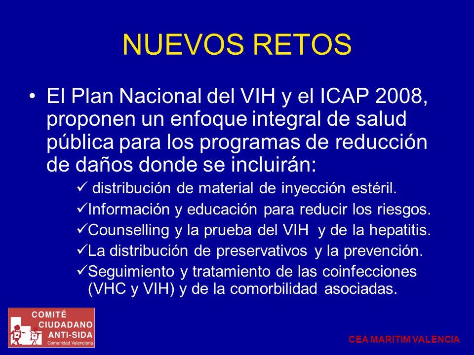 NUEVOS RETOS El Plan Nacional del VIH y el ICAP 2008, proponen un enfoque integral de salud pública para los programas de reducción de daños donde se incluirán: distribución de material de inyección estéril.
