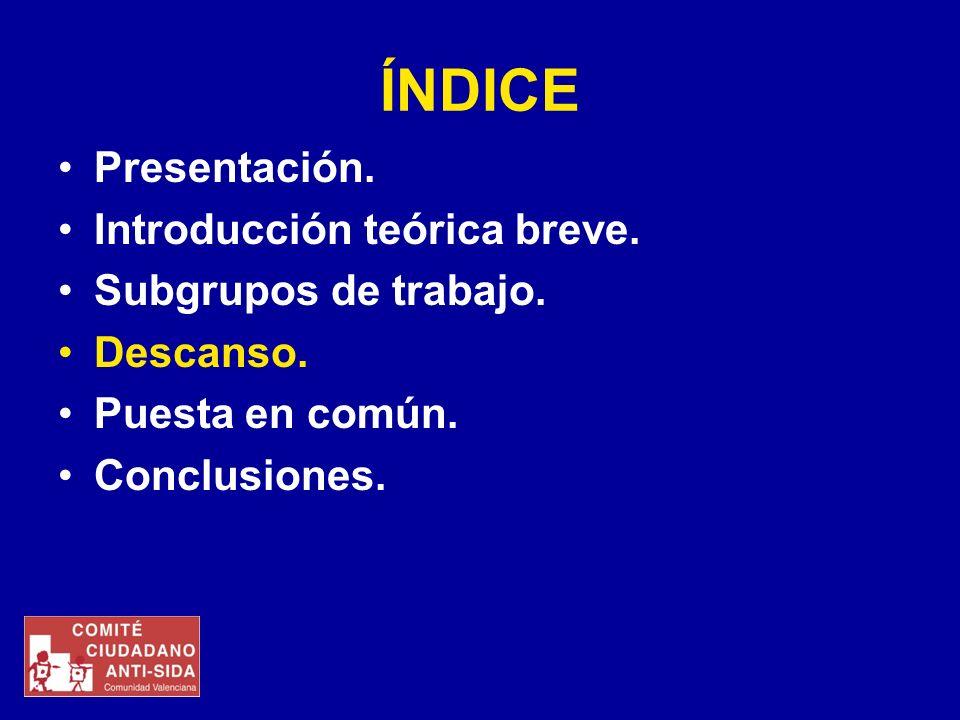 ÍNDICE Presentación. Introducción teórica breve. Subgrupos de trabajo. Descanso. Puesta en común. Conclusiones.