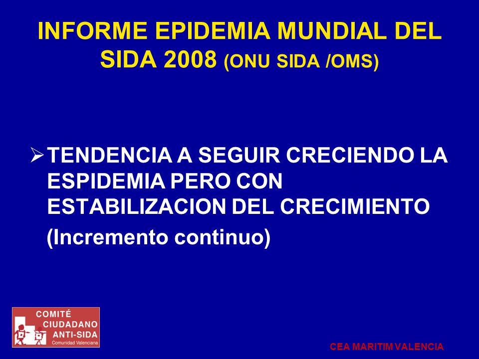 INFORME EPIDEMIA MUNDIAL DEL SIDA 2008 (ONU SIDA /OMS) TENDENCIA A SEGUIR CRECIENDO LA ESPIDEMIA PERO CON ESTABILIZACION DEL CRECIMIENTO (Incremento c