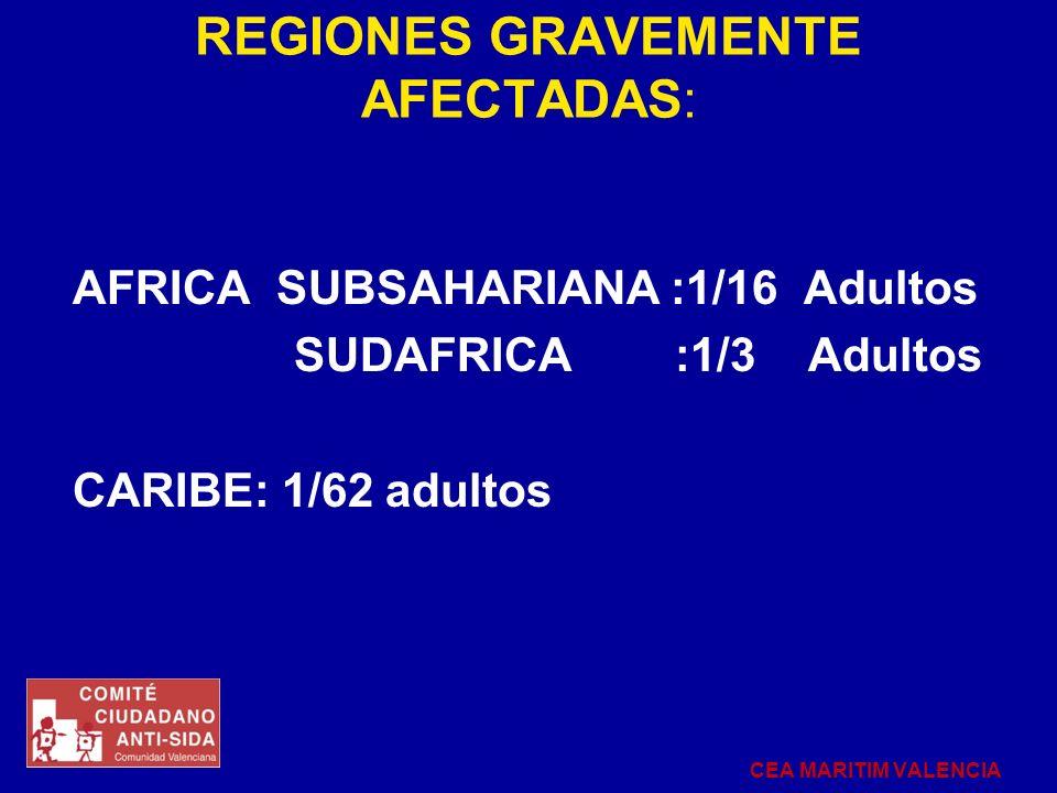REGIONES GRAVEMENTE AFECTADAS: AFRICA SUBSAHARIANA :1/16 Adultos SUDAFRICA :1/3 Adultos CARIBE: 1/62 adultos CEA MARITIM VALENCIA