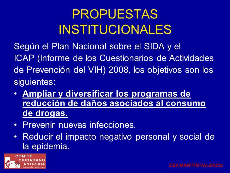 PROPUESTAS INSTITUCIONALES Según el Plan Nacional sobre el SIDA y el ICAP (Informe de los Cuestionarios de Actividades de Prevención del VIH) 2008, lo