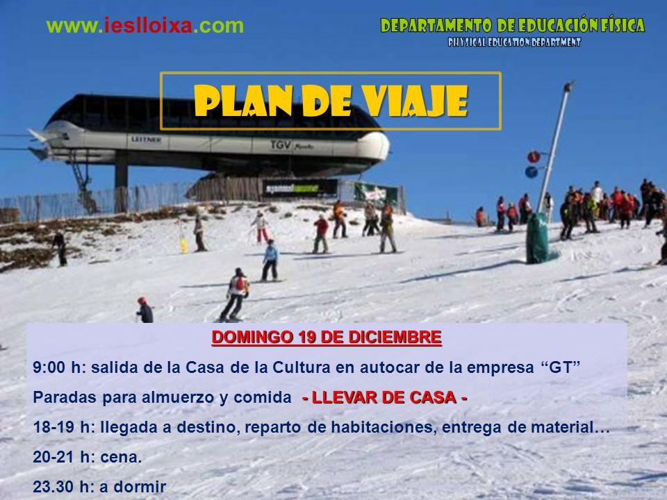 www.ieslloixa.com LUNES 20 a MIÉRCOLES 23 DE DICIEMBRE 7-8 h: despertador.