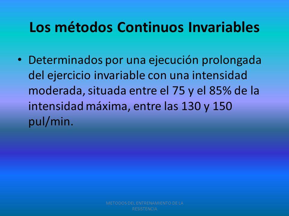 Determinados por una ejecución prolongada del ejercicio invariable con una intensidad moderada, situada entre el 75 y el 85% de la intensidad máxima,