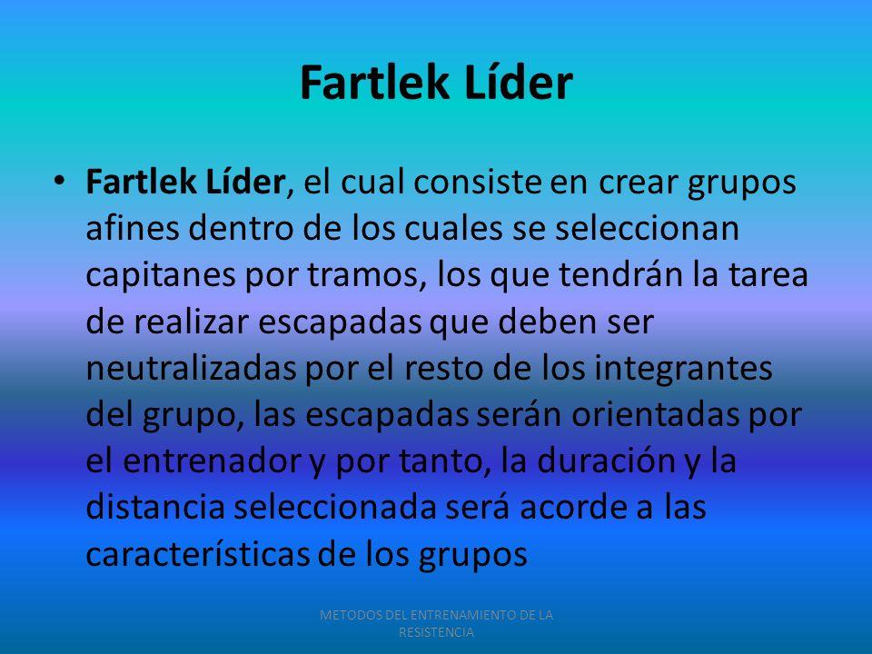 Fartlek Líder Fartlek Líder, el cual consiste en crear grupos afines dentro de los cuales se seleccionan capitanes por tramos, los que tendrán la tare