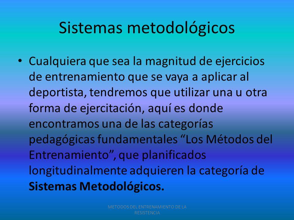 Sistemas metodológicos Cualquiera que sea la magnitud de ejercicios de entrenamiento que se vaya a aplicar al deportista, tendremos que utilizar una u