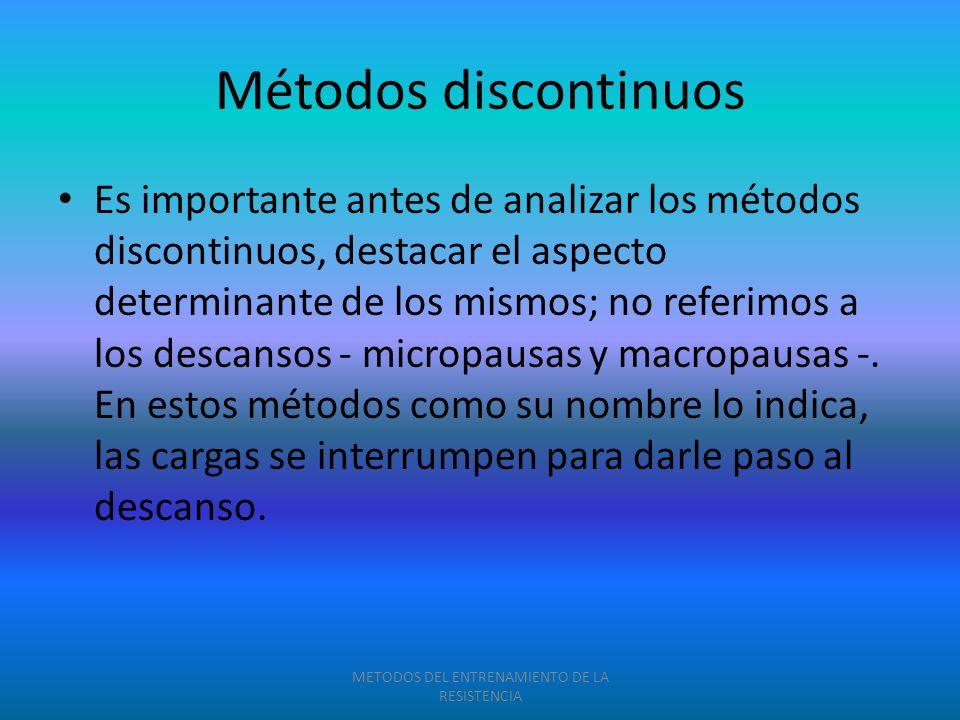 Métodos discontinuos Es importante antes de analizar los métodos discontinuos, destacar el aspecto determinante de los mismos; no referimos a los desc