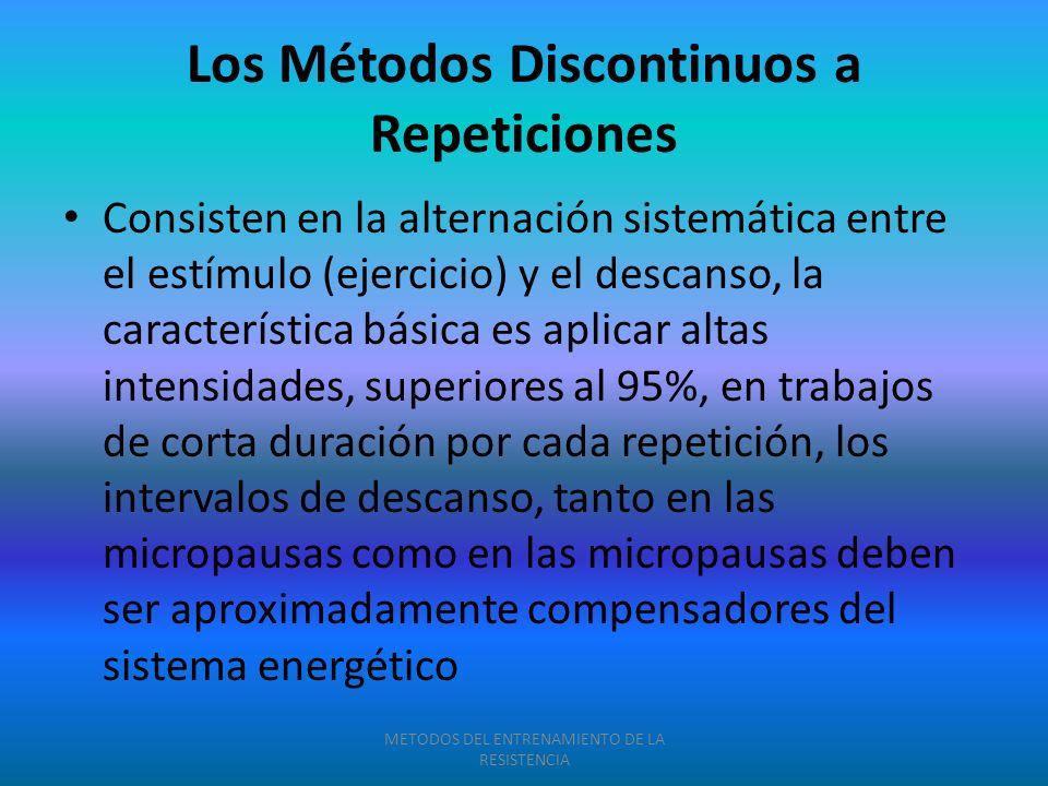 Los Métodos Discontinuos a Repeticiones Consisten en la alternación sistemática entre el estímulo (ejercicio) y el descanso, la característica básica