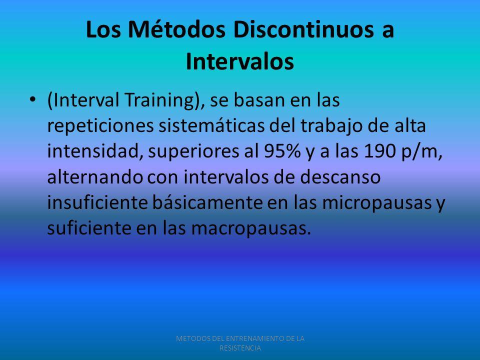 Los Métodos Discontinuos a Intervalos (Interval Training), se basan en las repeticiones sistemáticas del trabajo de alta intensidad, superiores al 95%