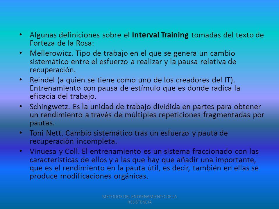 Algunas definiciones sobre el Interval Training tomadas del texto de Forteza de la Rosa: Mellerowicz. Tipo de trabajo en el que se genera un cambio si