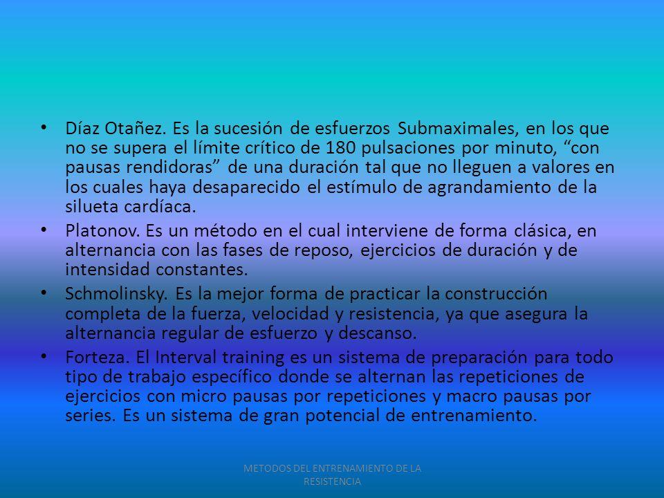 Díaz Otañez. Es la sucesión de esfuerzos Submaximales, en los que no se supera el límite crítico de 180 pulsaciones por minuto, con pausas rendidoras