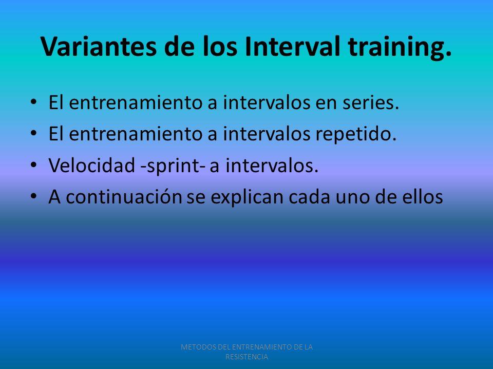 Variantes de los Interval training. El entrenamiento a intervalos en series. El entrenamiento a intervalos repetido. Velocidad -sprint- a intervalos.
