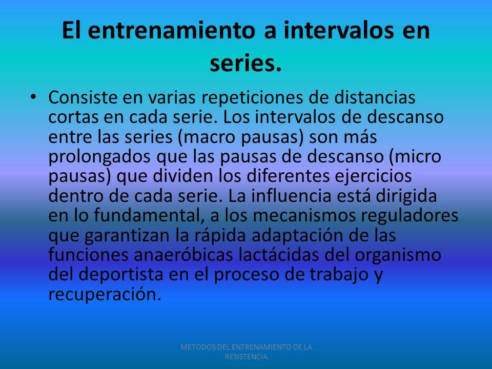 El entrenamiento a intervalos en series. Consiste en varias repeticiones de distancias cortas en cada serie. Los intervalos de descanso entre las seri