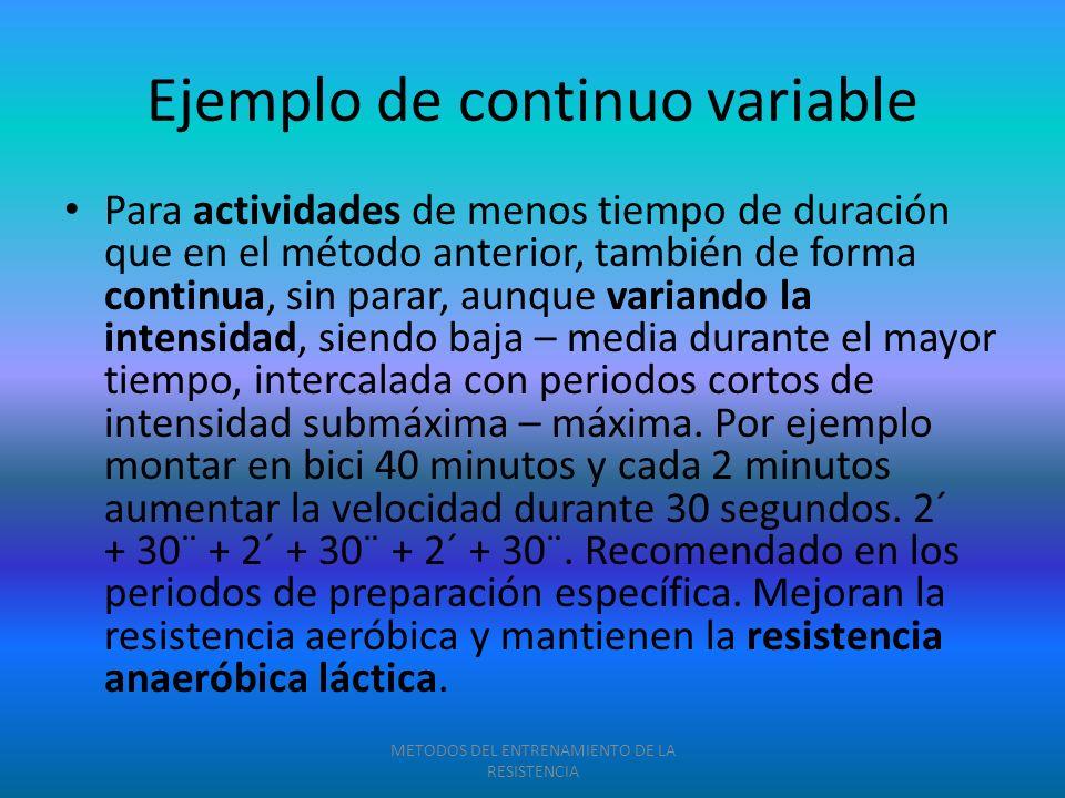Ejemplo de continuo variable Para actividades de menos tiempo de duración que en el método anterior, también de forma continua, sin parar, aunque vari