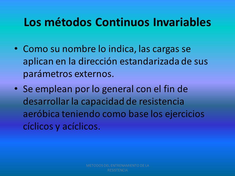 Los métodos Continuos Invariables Como su nombre lo indica, las cargas se aplican en la dirección estandarizada de sus parámetros externos. Se emplean
