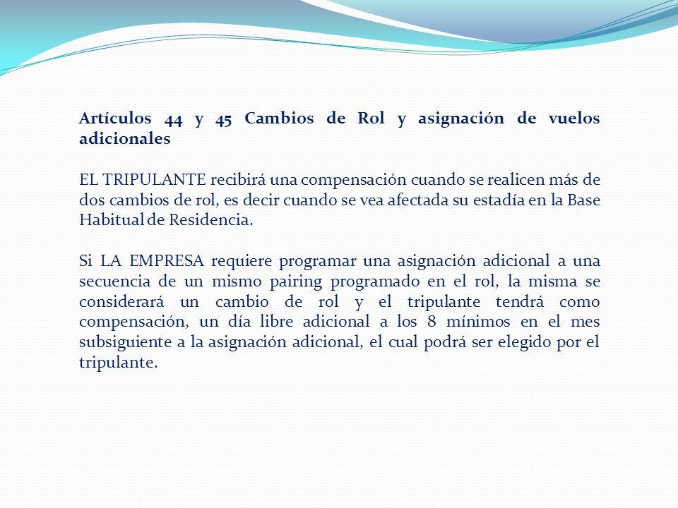 Artículos 44 y 45 Cambios de Rol y asignación de vuelos adicionales EL TRIPULANTE recibirá una compensación cuando se realicen más de dos cambios de rol, es decir cuando se vea afectada su estadía en la Base Habitual de Residencia.
