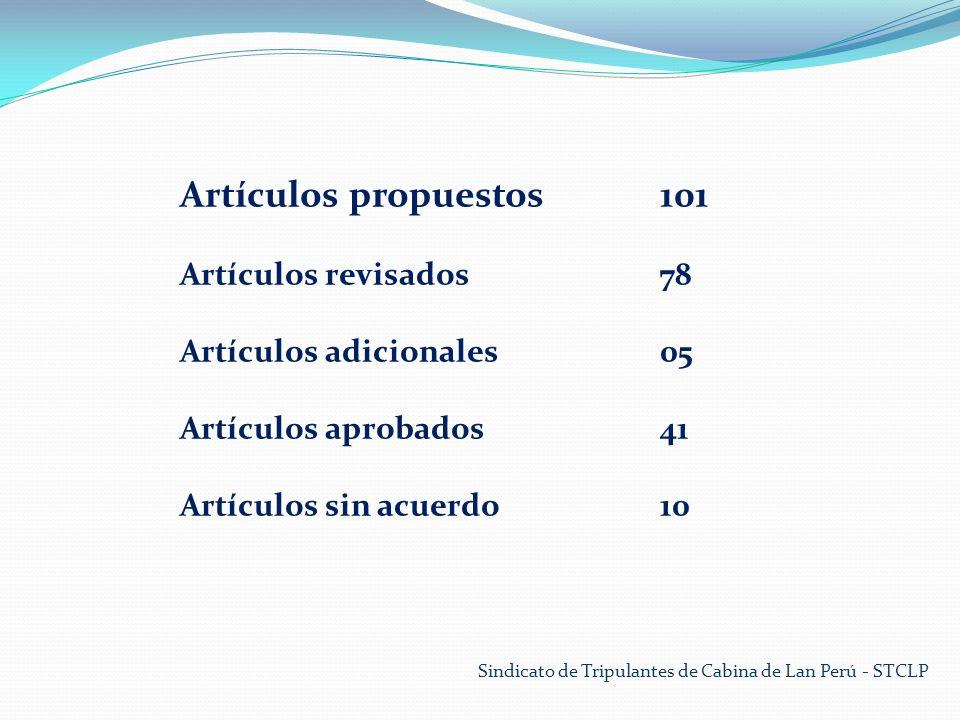 Sindicato de Tripulantes de Cabina de Lan Perú - STCLP Artículos propuestos101 Artículos revisados78 Artículos adicionales05 Artículos aprobados41 Artículos sin acuerdo10
