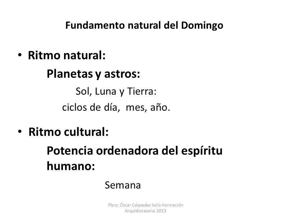 Fundamento natural del Domingo Ritmo natural: Planetas y astros: Sol, Luna y Tierra: ciclos de día, mes, año. Ritmo cultural: Potencia ordenadora del