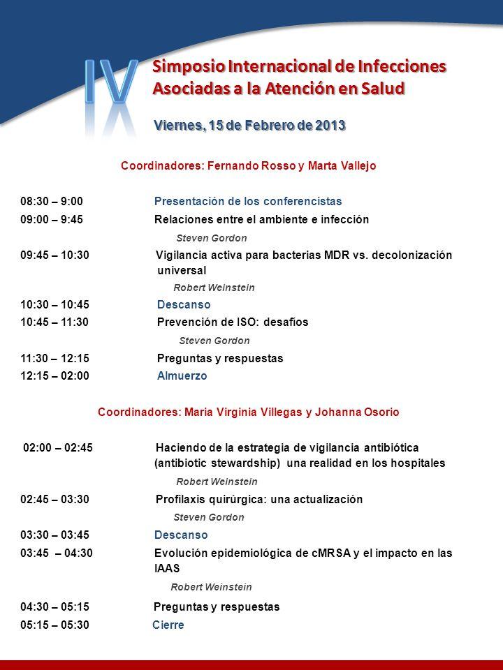 Viernes, 15 de Febrero de 2013 Viernes, 15 de Febrero de 2013 Coordinadores: Fernando Rosso y Marta Vallejo 08:30 – 9:00Presentación de los conferenci