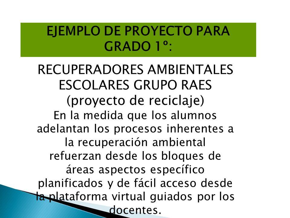 EJEMPLO DE PROYECTO PARA GRADO 1º: RECUPERADORES AMBIENTALES ESCOLARES GRUPO RAES (proyecto de reciclaje) En la medida que los alumnos adelantan los p