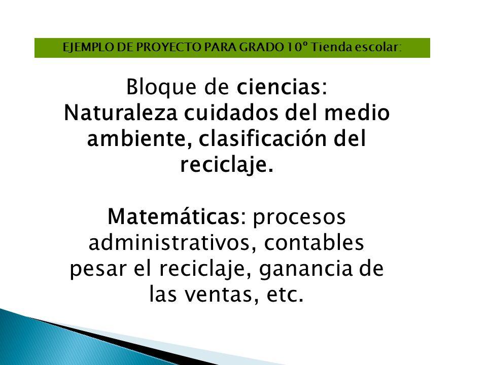EJEMPLO DE PROYECTO PARA GRADO 10º Tienda escolar: Bloque de ciencias: Naturaleza cuidados del medio ambiente, clasificación del reciclaje. Matemática