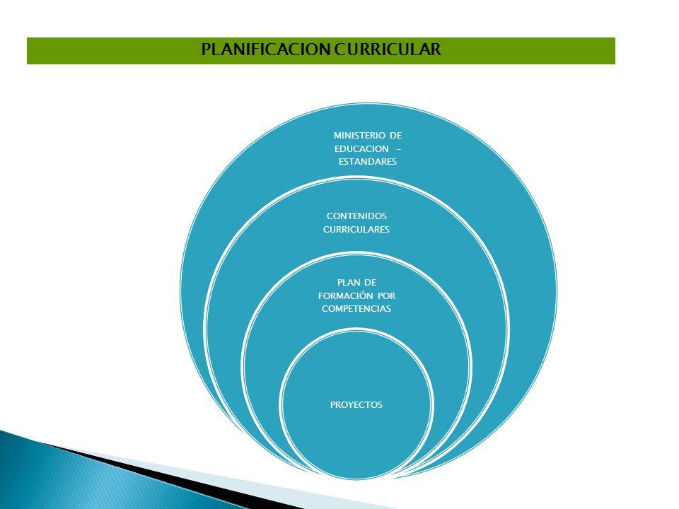 PLANIFICACION CURRICULAR MINISTERIO DE EDUCACION - ESTANDARES CONTENIDOS CURRICULARES PLAN DE FORMACIÓN POR COMPETENCIAS PROYECTOS