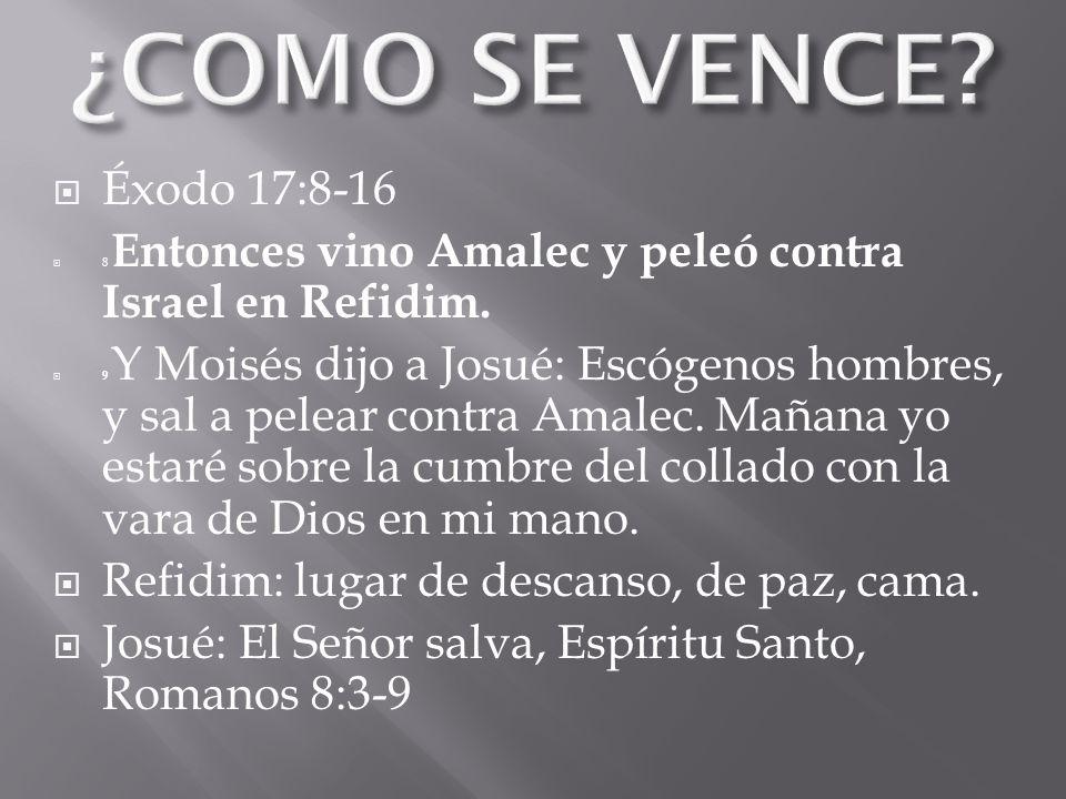 Éxodo 17:8-16 8 Entonces vino Amalec y peleó contra Israel en Refidim. 9 Y Moisés dijo a Josué: Escógenos hombres, y sal a pelear contra Amalec. Mañan