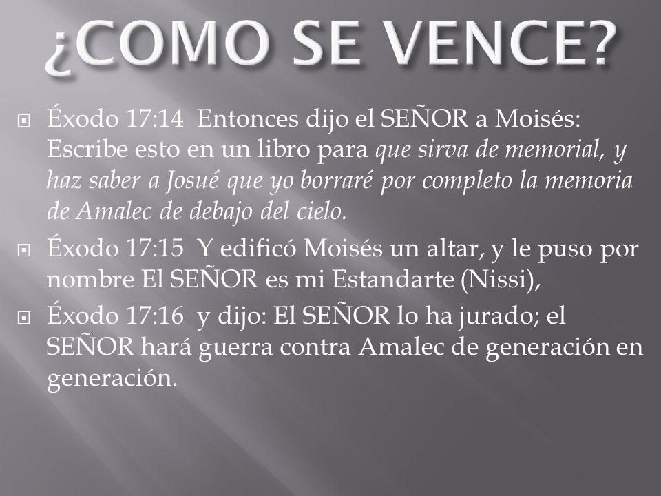 Éxodo 17:14 Entonces dijo el SEÑOR a Moisés: Escribe esto en un libro para que sirva de memorial, y haz saber a Josué que yo borraré por completo la memoria de Amalec de debajo del cielo.