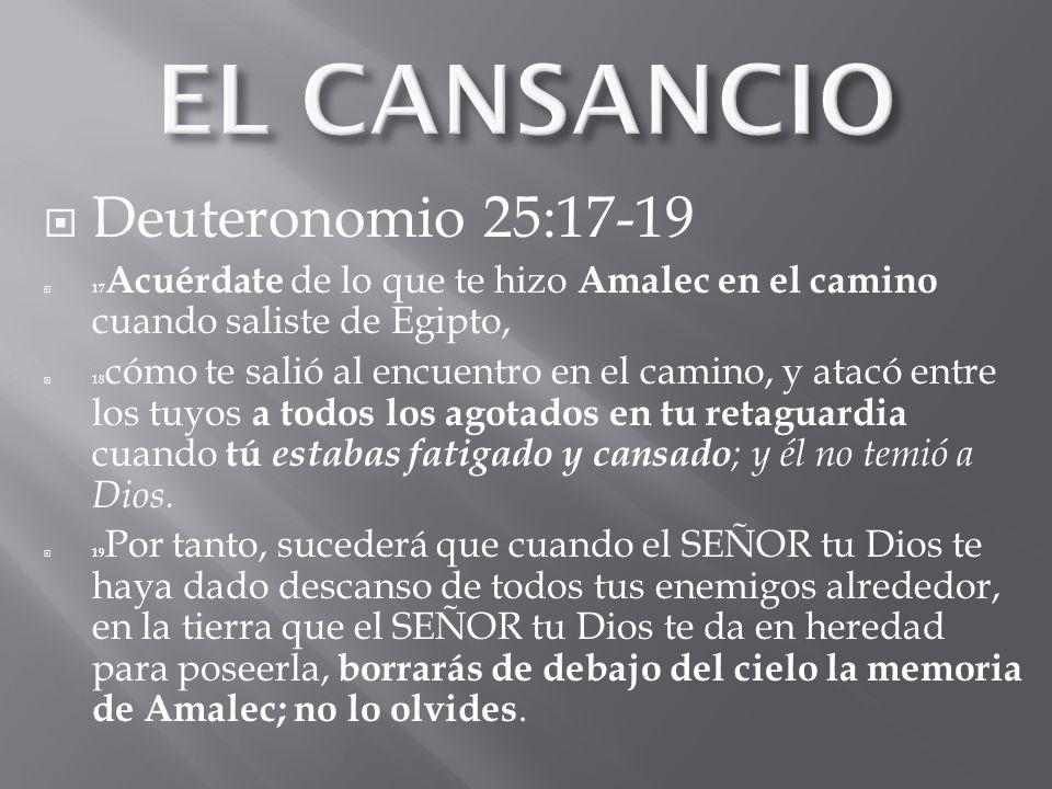 Deuteronomio 25:17-19 17 Acuérdate de lo que te hizo Amalec en el camino cuando saliste de Egipto, 18 cómo te salió al encuentro en el camino, y atacó entre los tuyos a todos los agotados en tu retaguardia cuando tú estabas fatigado y cansado ; y él no temió a Dios.