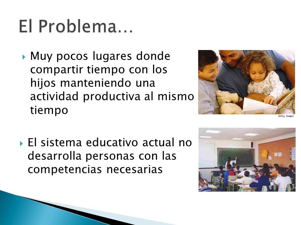 Muy pocos lugares donde compartir tiempo con los hijos manteniendo una actividad productiva al mismo tiempo El sistema educativo actual no desarrolla