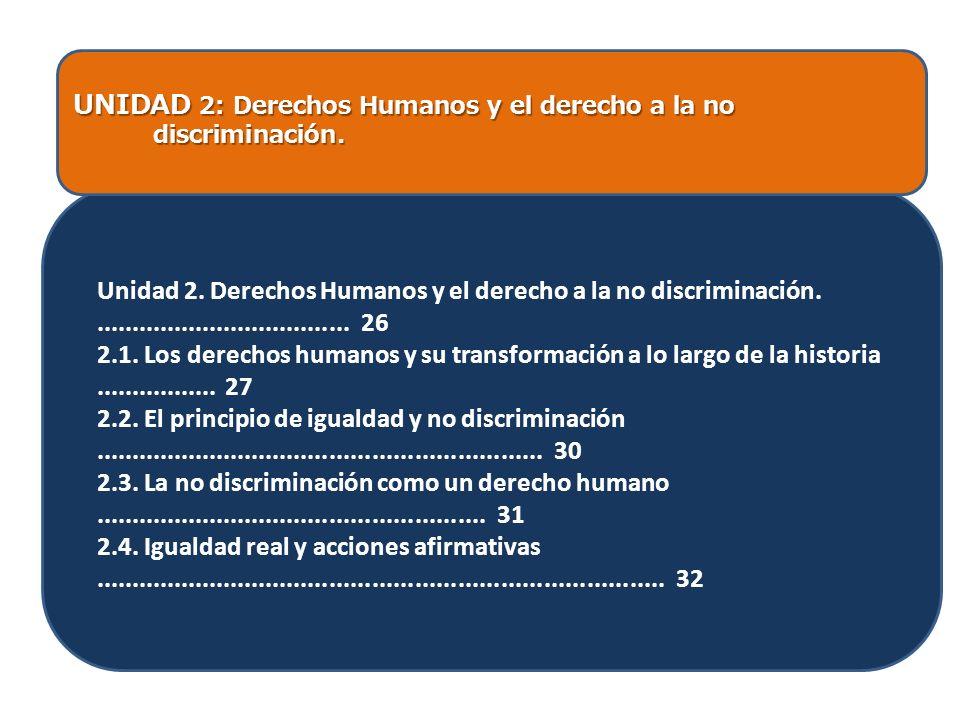 UNIDAD 2: Derechos Humanos y el derecho a la no discriminación. discriminación. Unidad 2. Derechos Humanos y el derecho a la no discriminación........