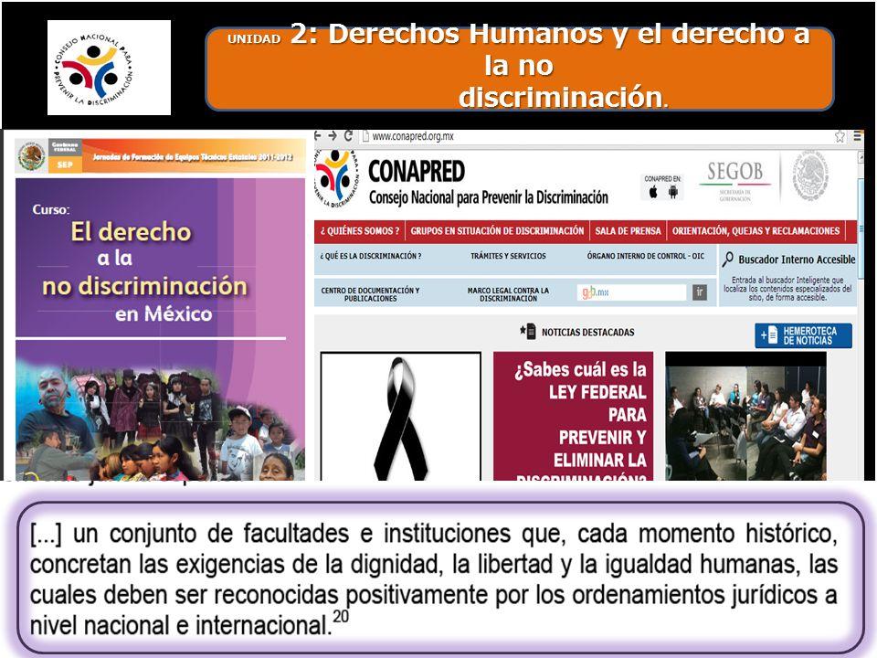 UNIDAD 2: Derechos Humanos y el derecho a la no discriminación.