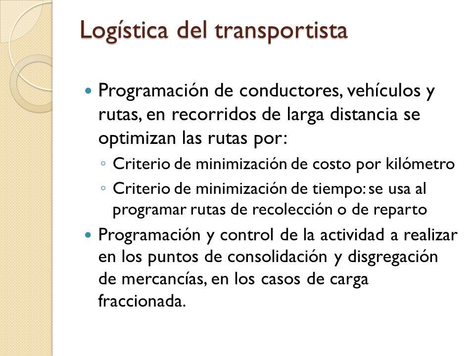 Logística del transportista Programación de conductores, vehículos y rutas, en recorridos de larga distancia se optimizan las rutas por: Criterio de m
