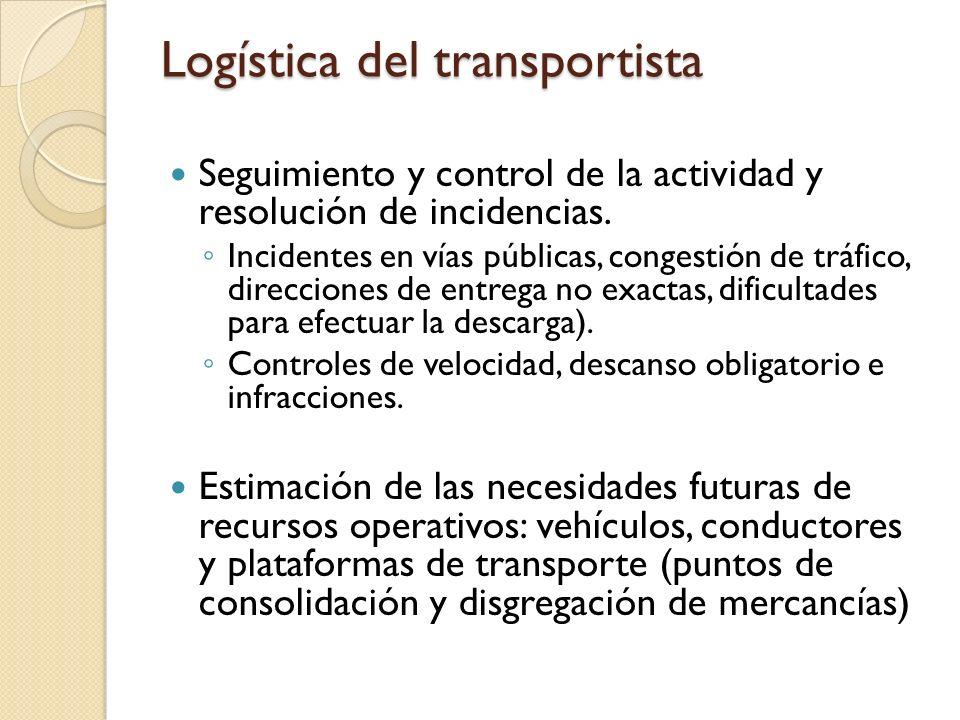 Logística del transportista Seguimiento y control de la actividad y resolución de incidencias. Incidentes en vías públicas, congestión de tráfico, dir