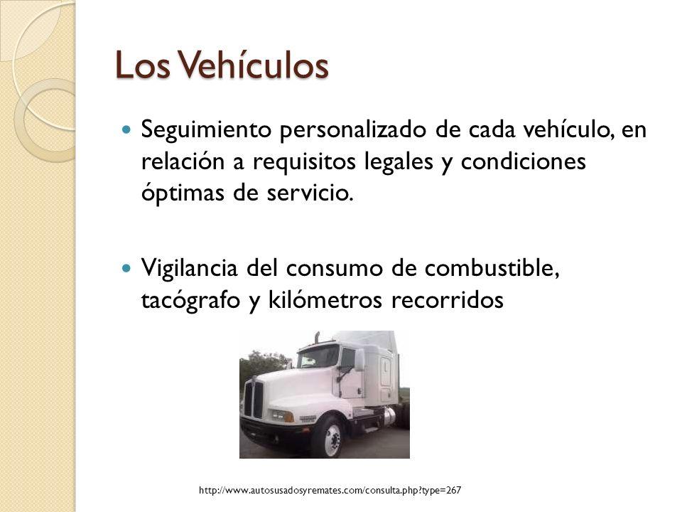 Los Vehículos Seguimiento personalizado de cada vehículo, en relación a requisitos legales y condiciones óptimas de servicio. Vigilancia del consumo d