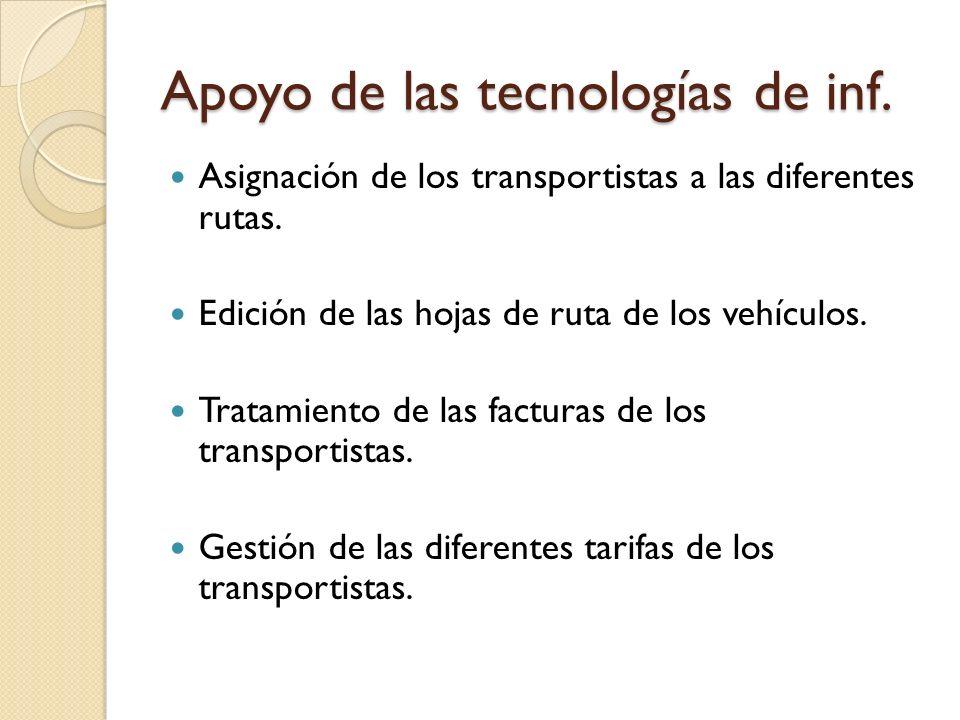 Apoyo de las tecnologías de inf. Asignación de los transportistas a las diferentes rutas. Edición de las hojas de ruta de los vehículos. Tratamiento d