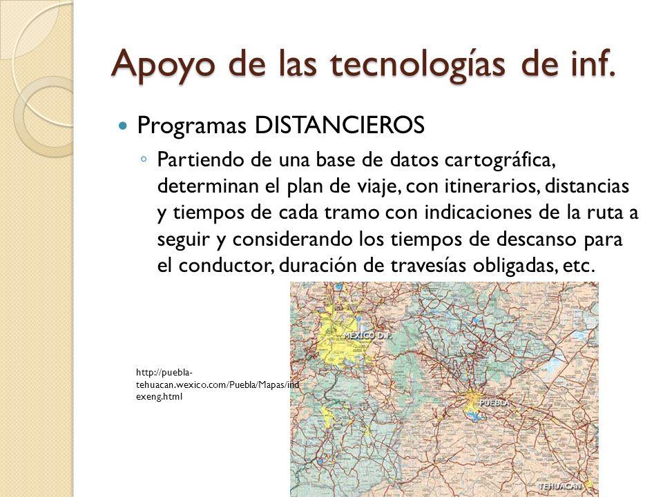 Apoyo de las tecnologías de inf. Programas DISTANCIEROS Partiendo de una base de datos cartográfica, determinan el plan de viaje, con itinerarios, dis
