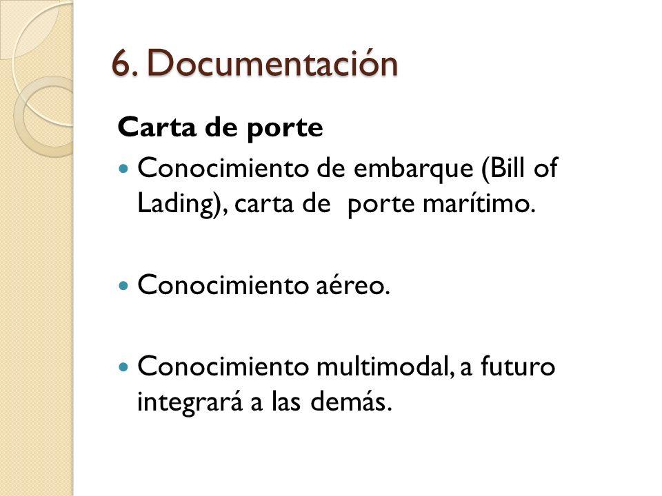 6. Documentación Carta de porte Conocimiento de embarque (Bill of Lading), carta de porte marítimo. Conocimiento aéreo. Conocimiento multimodal, a fut