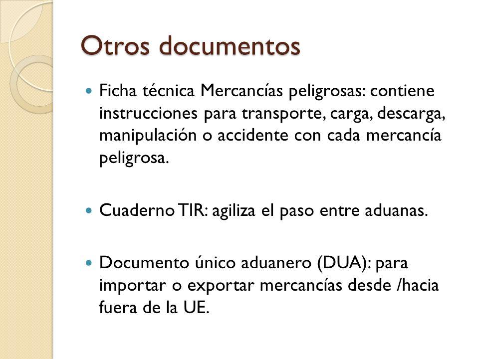Otros documentos Ficha técnica Mercancías peligrosas: contiene instrucciones para transporte, carga, descarga, manipulación o accidente con cada merca