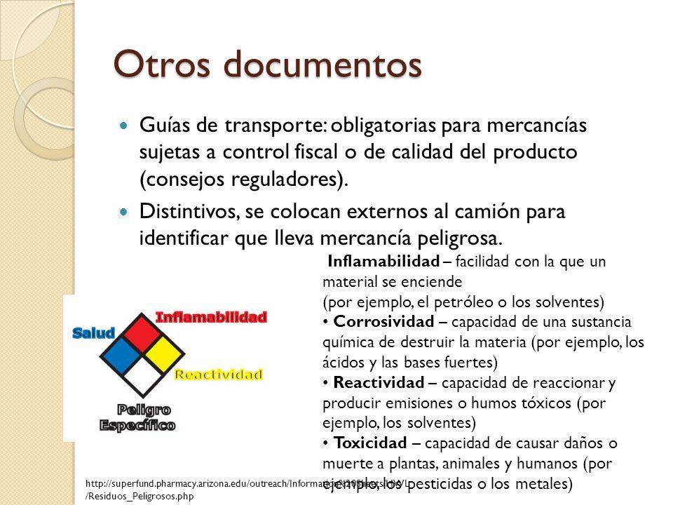 Otros documentos Guías de transporte: obligatorias para mercancías sujetas a control fiscal o de calidad del producto (consejos reguladores). Distinti