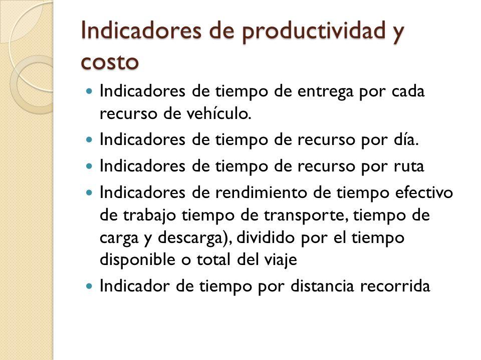 Indicadores de productividad y costo Indicadores de tiempo de entrega por cada recurso de vehículo. Indicadores de tiempo de recurso por día. Indicado