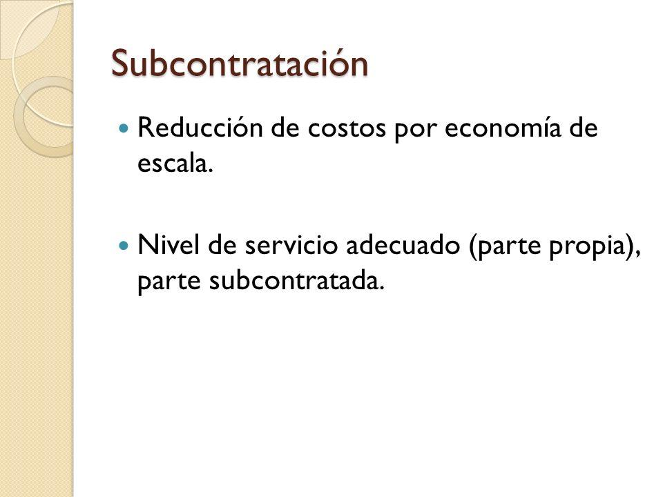 Subcontratación Reducción de costos por economía de escala. Nivel de servicio adecuado (parte propia), parte subcontratada.